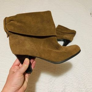 BCBG Leather Suede Brown Heeled Boots